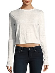 Alice Olivia Heathered Long Sleeve Crop Top Off White