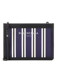 Balenciaga Navy Canvas And Leather Shoulder Bag Blue
