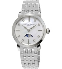 Frederique Constant Fc 206Mpwd1sd6b Slinline Moonphase Stainless Steel And Diamond Watch Mother Of Pearl