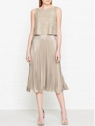 Hobbs Evelyn Pleated And Embellished Layered Dress Champagne Gold