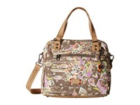 Sakroots Artist Circle Crossbody Satchel Slate Songbird Satchel Handbags Brown