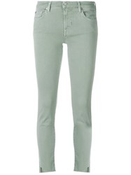 7 For All Mankind Cropped Skinny Fit Jeans Green