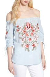 Hinge Embroidered Off The Shoulder Top Blue Cashmere Combo