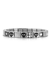 Nomination Steel Ikons Black Skull And Squared Symbols Stainless Steel Bracelet W Cubic Zirconia Silver