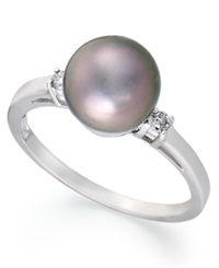 Macy's 14K White Gold Ring Tahitian Pearl 8Mm And Diamond Accent Ring Gray