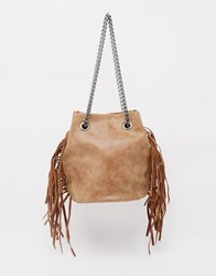 Liquorish Fringed Bucket Bag Brown