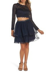 Sequin Hearts Two Piece Lace And Chiffon Party Dress Navy