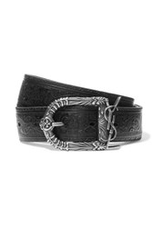 Saint Laurent Embossed Leather Belt Black