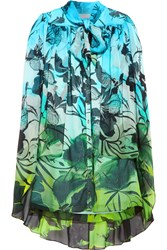 Matthew Williamson Draped Printed Silk Chiffon Shirt Dress Blue