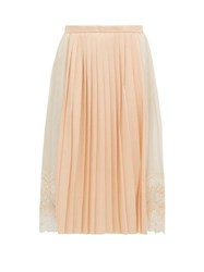 Burberry Lace Trimmed Chiffon And Pleated Satin Midi Skirt Light Pink