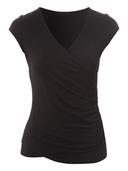 Jane Norman Wrap Top Black