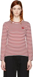Comme Des Garcons Play Red Long Sleeve Striped Heart Patch T Shirt