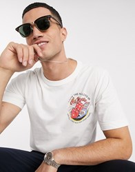 Selected Homme Organic Cotton The Killers Logo Brushed Cotton T Shirt In White