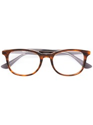 Ray Ban Square Frame Glasses Brown
