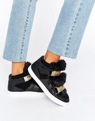 Carvela Lovely Furry Strap High Top Trainers Black Synthetic