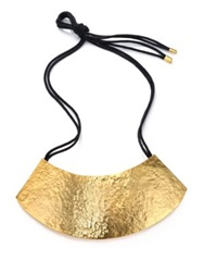 Josie Natori Plate Bib Necklace Gold