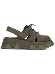 Camper 'Wilma' Platform Sandals Women Leather Polyester Rubber 40 Green