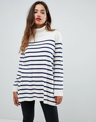 G Star High Neck Knit In Stripe Ivory Imperial Blue Multi