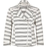 River Island Womens Grey Stripe Tweed Biker Jacket