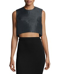 Monique Lhuillier Sleeveless Structured Crop Top Noir