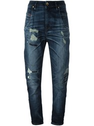 Diesel High Rise Cropped Jeans Blue