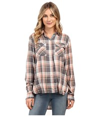 Roxy Sunday Funday Plaid Button Up Top Smoked Pearl Lamont Plaid Women's Clothing Brown