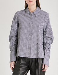 Moandco. Gingham Ruched Sleeve Shirt Black And White