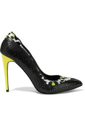 Just Cavalli Animal Print Satin Trimmed Perforated Leather Pumps Black