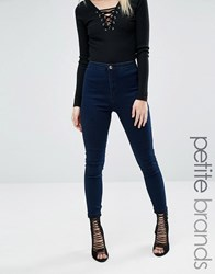 Missguided Petite Vice Super Stretch High Waisted Skinny Jeans Dark Indigo Blue