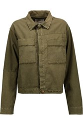 Current Elliott The Shipyard Frayed Cotton Blend Jacket Army Green