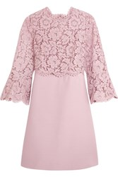 Valentino Bell Sleeve Corded Lace And Crepe Mini Dress Antique Rose
