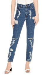 Sandro Ripped Lighting Bolt Jeans Blue Vintage Denim