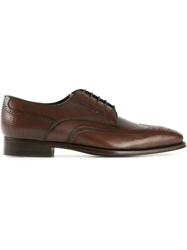 Canali Punch Hole Detail Oxford Shoes Brown