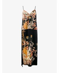 N 21 Sleeveless Floral Print Long Cami Dress Multi Coloured Black Orange White
