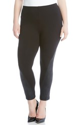 Karen Kane Plus Size Women's Faux Leather Panel Leggings Black