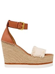 See By Chloe 120Mm Canvas And Leather Wedge Sandals White