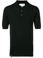 Matthew Miller Knitted Merino Silk Polo Top Black