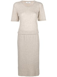 Pringle Of Scotland Short Sleeve Sweater Dress Nude And Neutrals