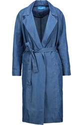 Mih Jeans M.I.H Carmel Cotton Blend Chambray Trench Coat Mid Denim