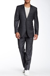English Laundry Charcoal Windowpane Two Button Notch Lapel Wool Suit Gray