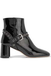 Miu Miu Eyelet Embellished Patent Leather Ankle Boots Black