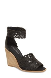 0de49eb4ca6 Jeffrey Campbell Besante Perforated Wedge Sandal Black Natural Wedge
