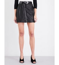 Maje Jay Leather Skirt Black