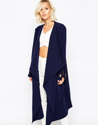 Lavish Alice Waterfall Belted Coat With Eyelet Detail Indigo