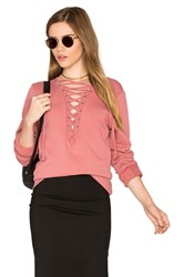 Michael Lauren Dominic Lace Up Pullover Rose