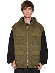 Juun.J Nylon Raincoat And Hooded Vest Army Green