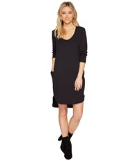 Heather Cotton French Terry Long Sleeve Scoop Dress Smoke Women's Dress Gray