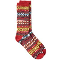 Anonymous Ism Fair Isle Crew Sock Red