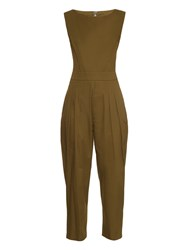 Yohji Yamamoto Regulation Sleeveless Cotton Twill Jumpsuit