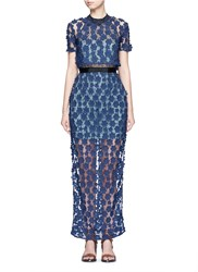 Self Portrait '60'S Overlay' Floral Lace Maxi Dress Blue